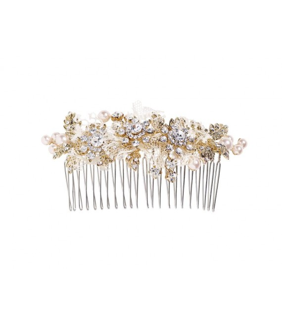Lilly hair comb (03-4203-GD-0) - The Beautiful Bride Shop