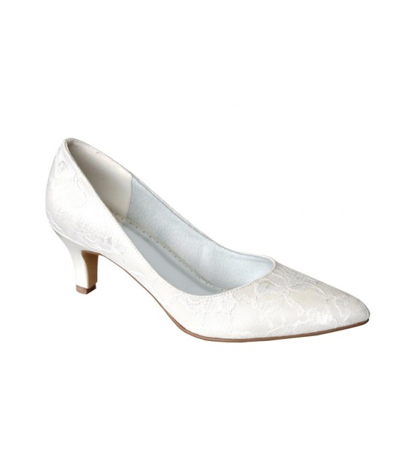 Lilly Bridal pumps with lace  (07-1987-CR) - The Beautiful Bride Shop
