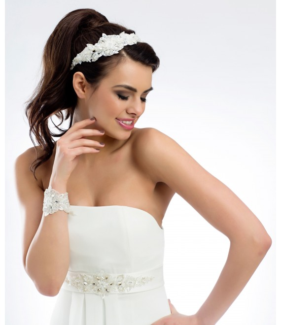 Lace hair band with decorative stones BBC109 - The Beautiful Bride Shop