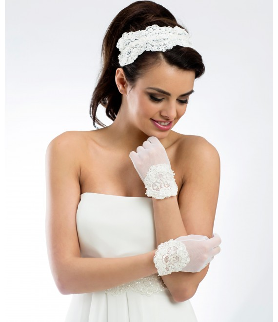 Hairband BBC110, lace with Swarovski crystals - The Beautiful Bride Shop