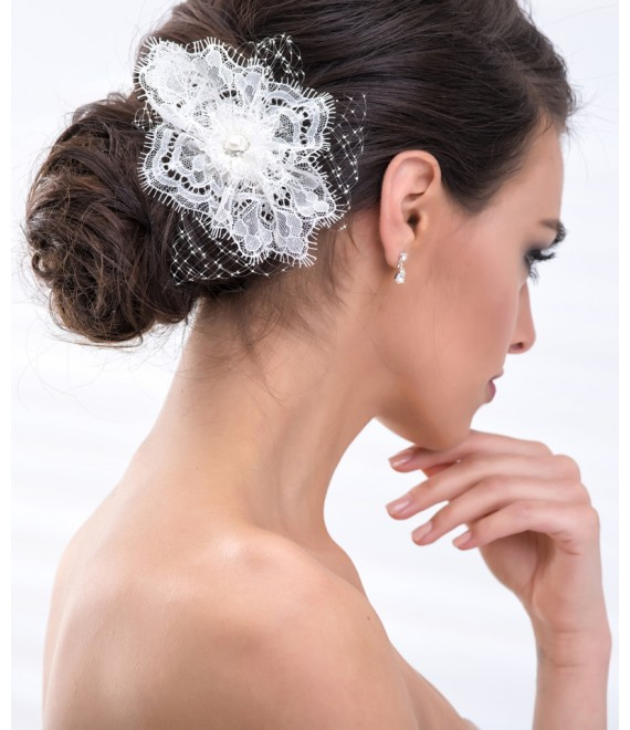 Fascinator with french net BBC114 - The Beautiful Bride Shop