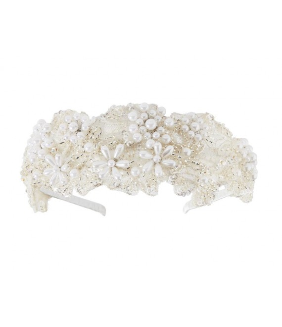 Tiara covered with pearls and sequins (Lilly 03-3209-CR-0) - The Beautiful Bride Shop