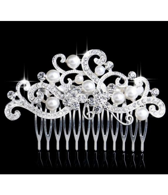 Hair comb with crystals and pearls 53220 - The Beautiful Bride Shop