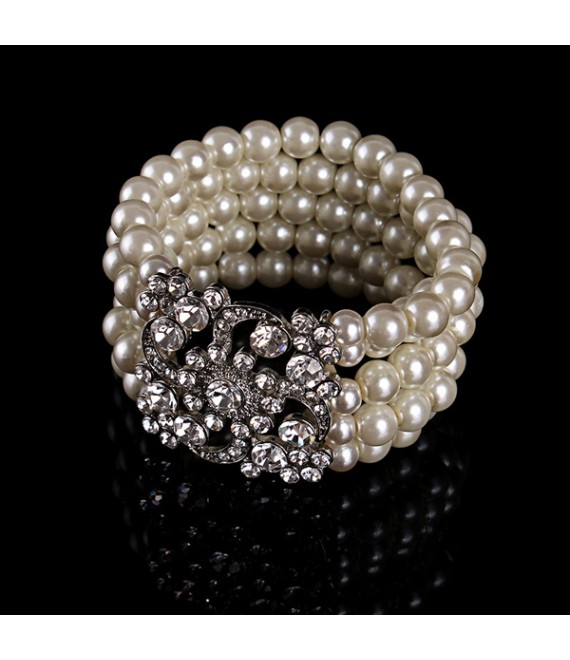 Wedding Bracelet with pearls and rhinestones - The Beautiful Bride Shop