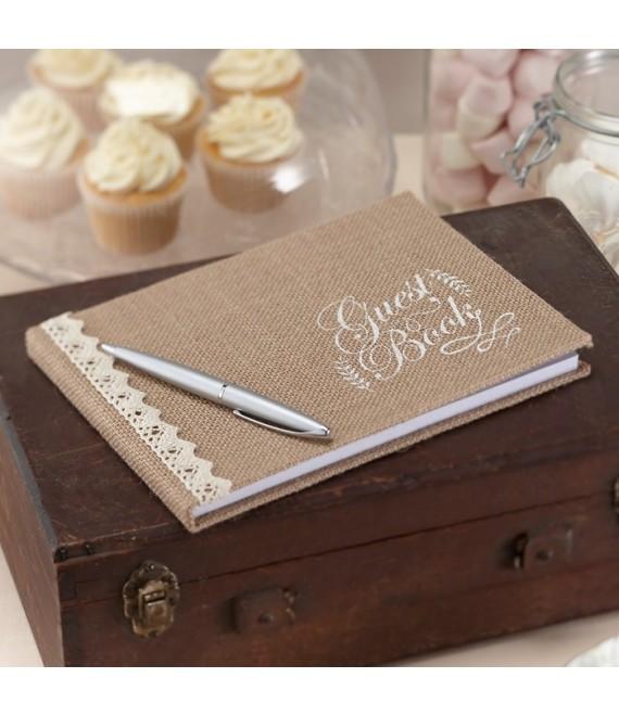 Hessian Burlap Guest Book Vintage Affair - The Beautiful Bride Shop