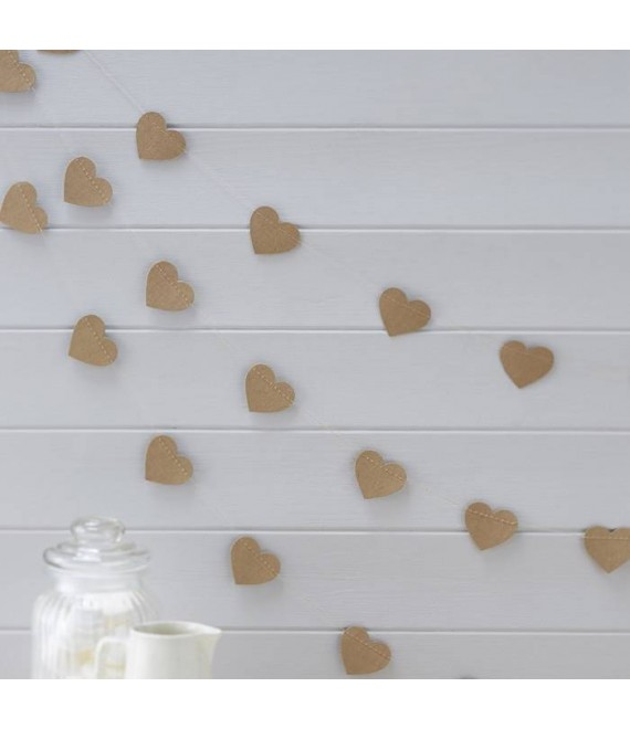 Heart Kraft Bunting - Vintage Affair - AF-615  - The Beautiful Bride Shop