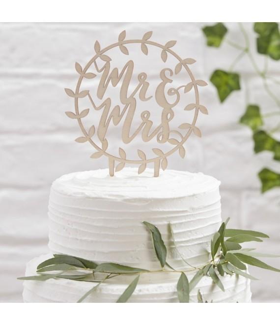 BB-260 Wooden Mr & Mrs Script Cake Topper 1 - The Beautiful Bride Shop