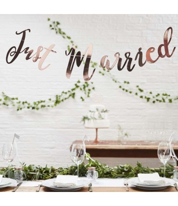 Just Married Rose Gold Bunting Backdrop 1- Beautiful Botanics