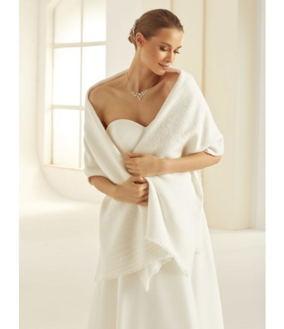 Knitted Bridal Stole E308 Bianco Evento