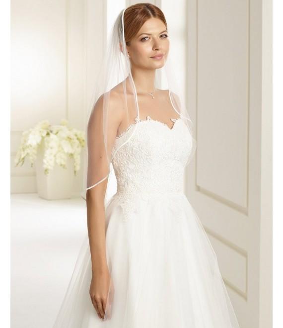 Jessica | Single layered veil with simple satin edge S136