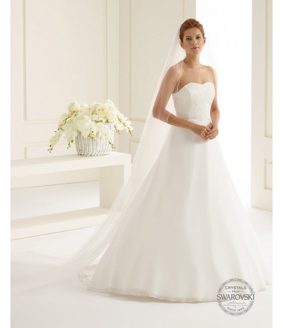Single layered veil with elegant corded edge S156S