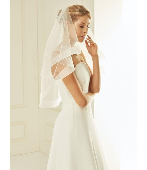 Veil with simple crinoline edge-two-layered S239 | Bianco Evento