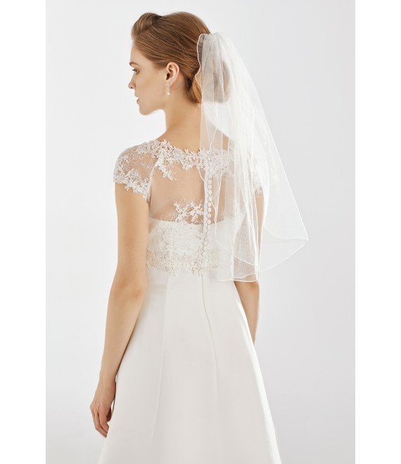 Single layer veil with lock edge S231 | Bianco Evento