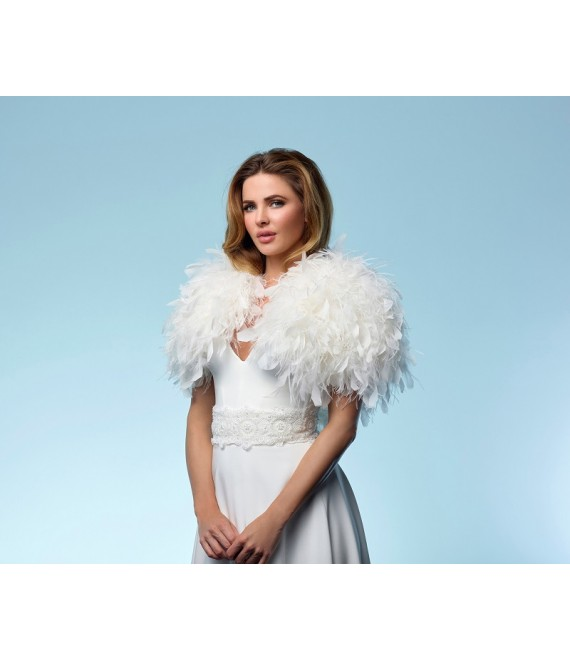 Duck-  and ostrich feather bolero  BOL-23 Poirier a - The Beautiful Bride Shop