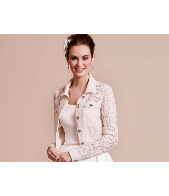 Lace Jacket 09-3801-CR Lilly - The Beautiful Bride Shop