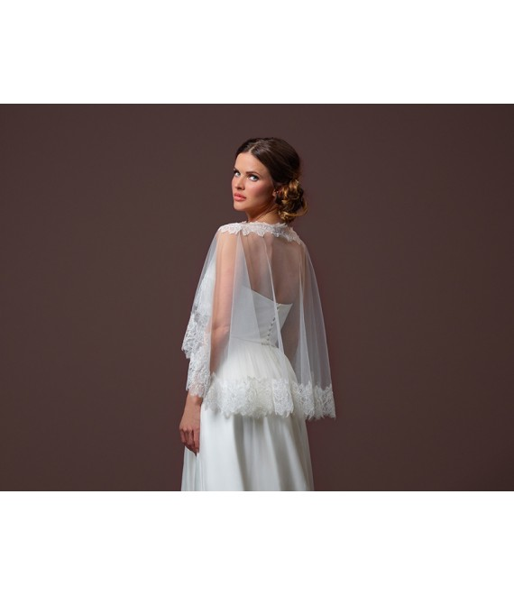 Soft tulle Cape C90-090_1 Poirier - The Beautiful Bride Shop