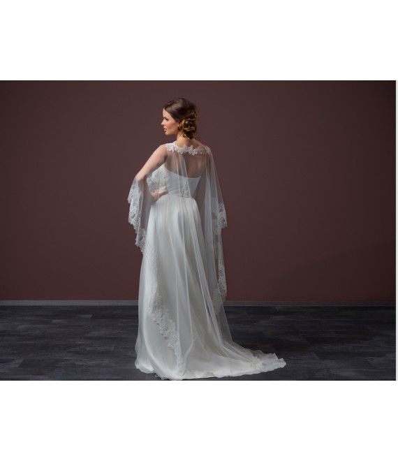 Long soft tulle Cape C90-200_1 Poirier - The Beautiful Bride Shop