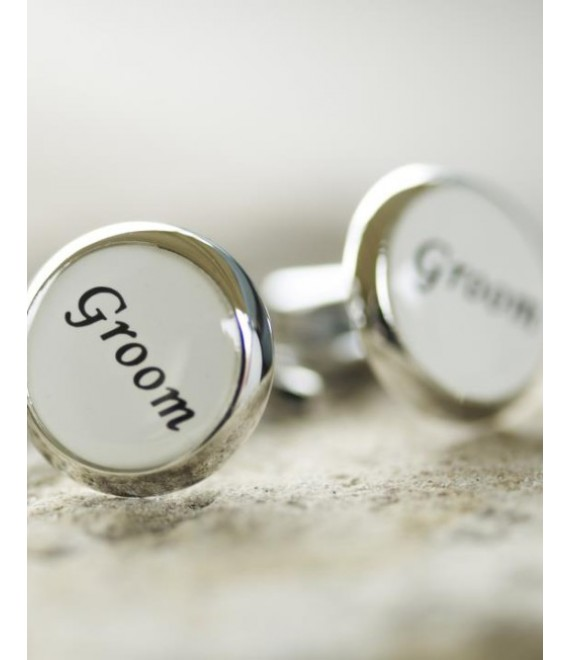 White cufflinks for the groom - The Beautiful Bride Shop