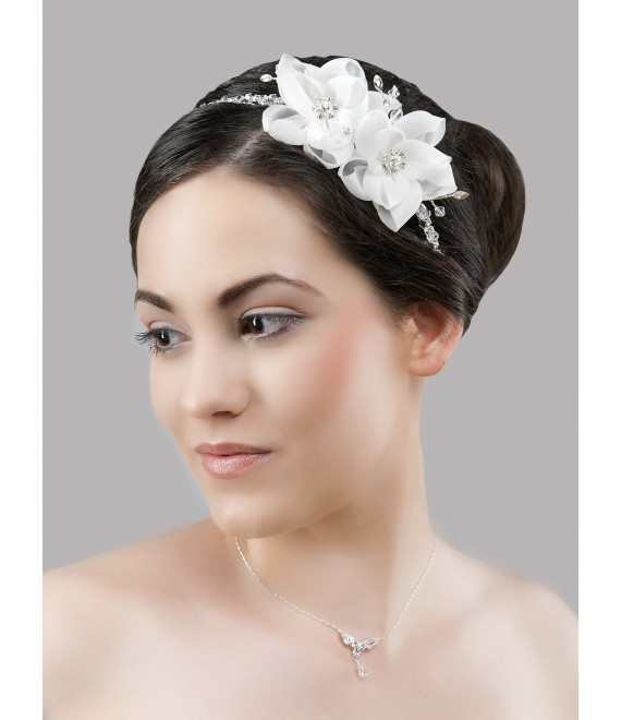 Crystals hair band with fascinator BBCD35 - The Beautiful Bride Shop
