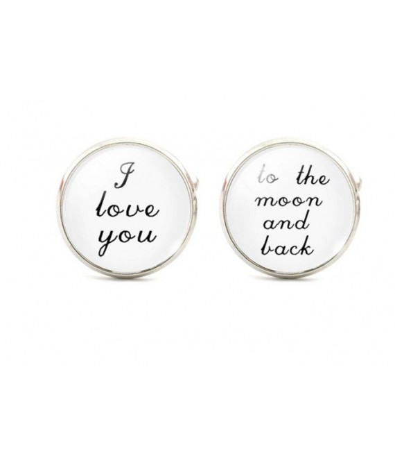 I love you - to the moon and back - cufflinks - The Beautiful Bride Shop