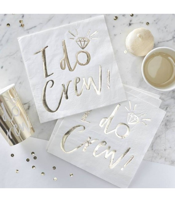 I Do Crew! White/Gold Foiled Paper Napkins 1 - The Beautiful Bride Shop