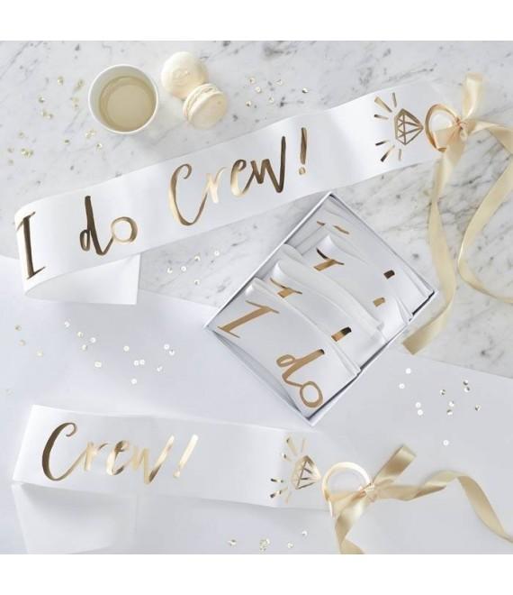 White and Gold Foiled I Do Crew sashes - I Do crew
