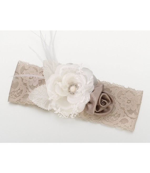 Lillian Rose  Taupe Vintage Lace Wide Garter - The Beautiful Bride Shop