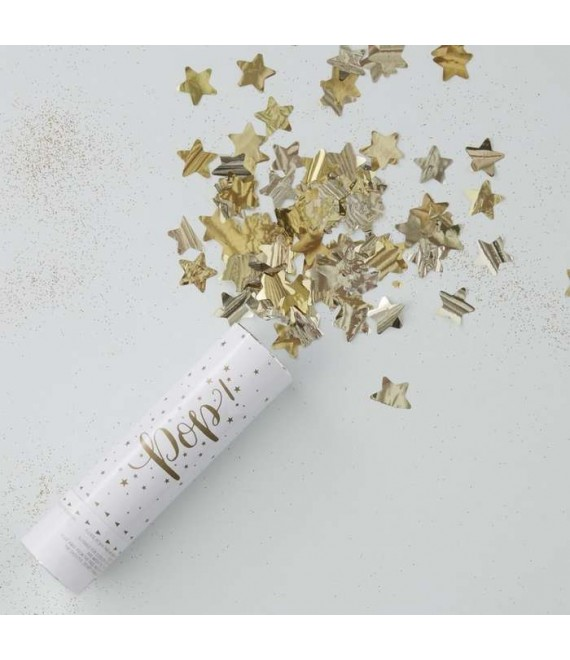 Gold Compressed Air Confetti Cannon Shooter - Metallic Star 2 - The Beautiful Bride Shop