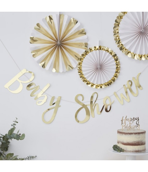 Gold Foiled Baby Shower Bunting | Oh Baby!