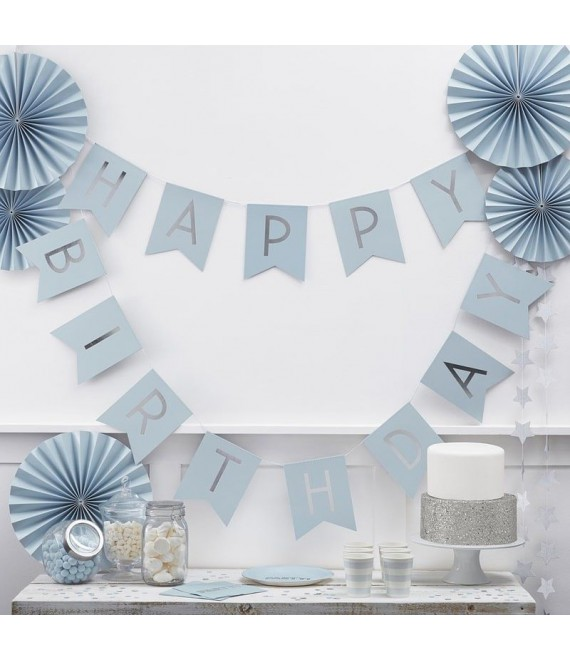 Blue Happy Birthday Bunting | Pastel Perfection