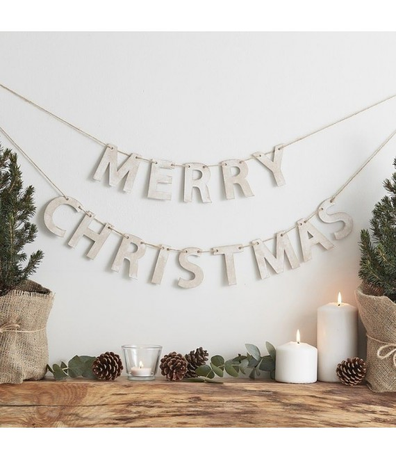 Wooden Merry Christmas Bunting   Rustic Christmas