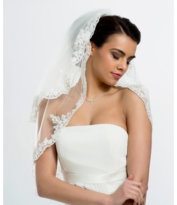 Veil with lace edge with glass beads BBC-S125 - The Beautiful Bride Shop