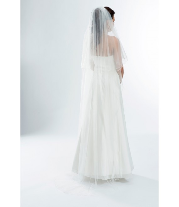 Two Layered Veil White Bianco Evento S165