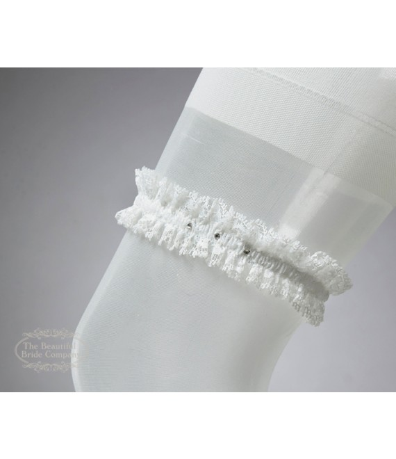 Garter in Ivory with swarowski crystal - The Beautiful Bride Shop
