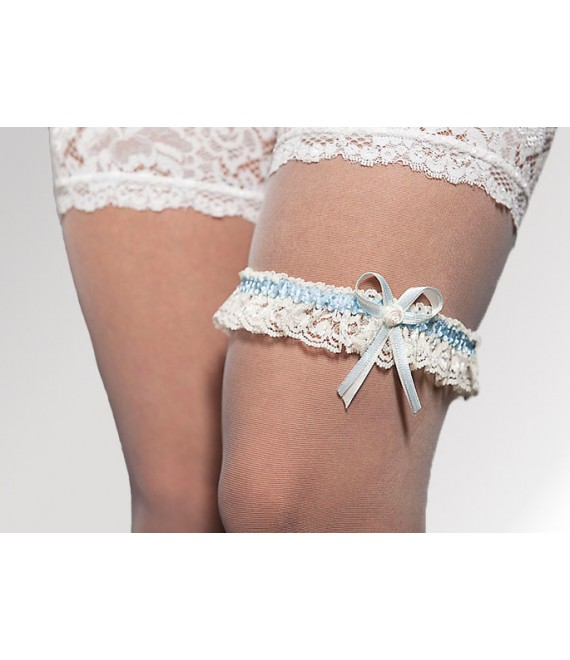 Garter Ivory & Blue - The Beautiful Bride Shop