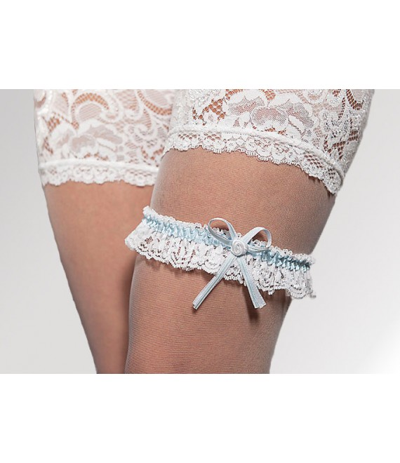 Garter White & Blue - The Beautiful Bride Shop