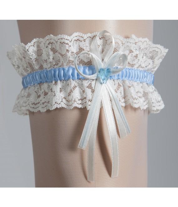 Garter Ivory & Blue - The Beautiful Bride Shop