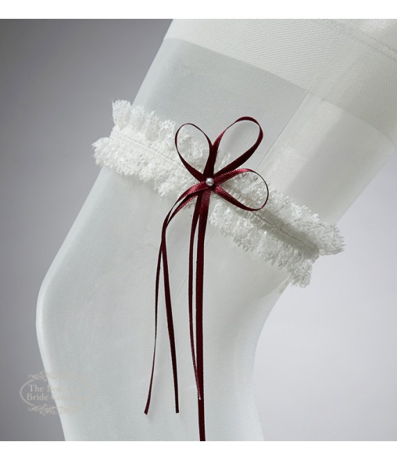 Garter in Ivory with red bow and pearl - The Beautiful Bride Shop