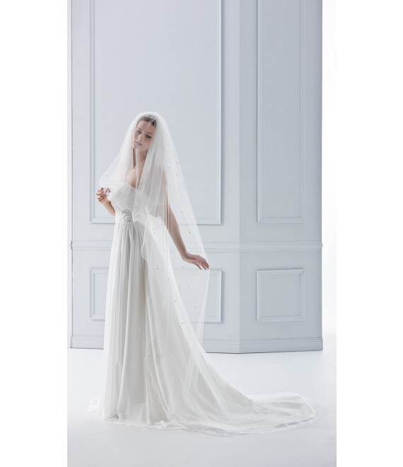 Veil 21781 (crystals)-Ivory-two layers -100 cm
