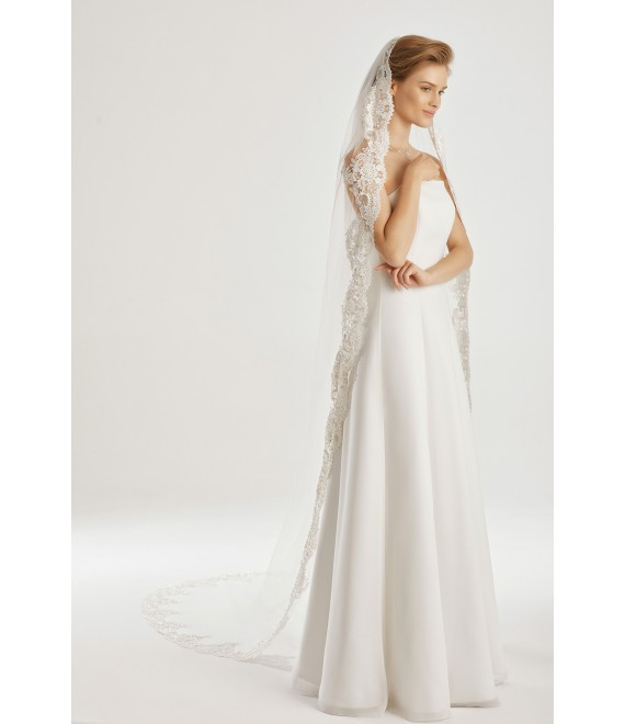 Veil with lace edge S200 | Bianco Evento