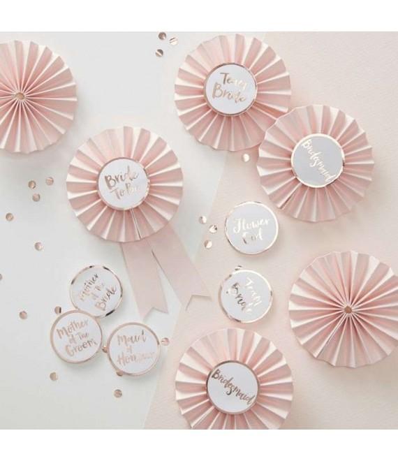 Pink & Rose Gold Hen Party Badges 1 - Team Bride