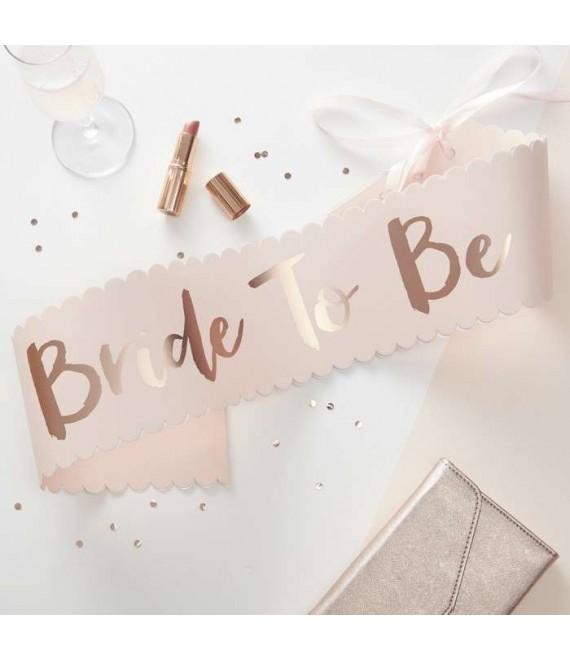 Pink & Rose Gold Bride To Be Sash 1 - Team Bride