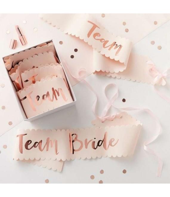 Pink And Rose Gold Team Bride Sashes 1 - Team Bride