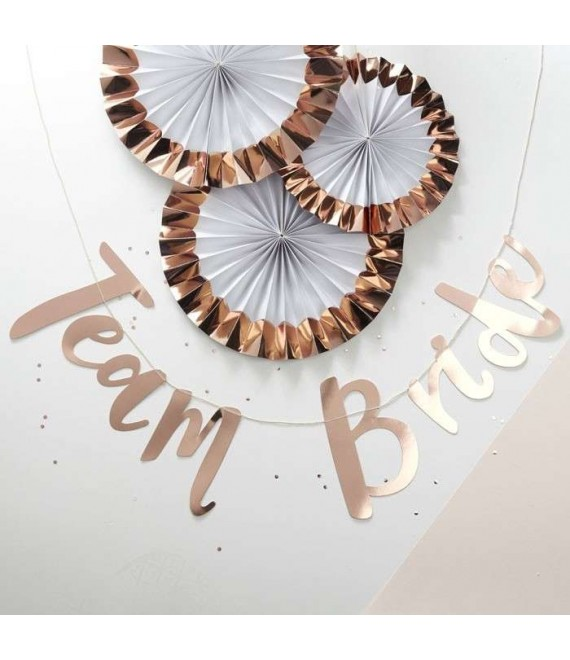 Rose Gold Hen Party Bunting Backdrop - Team Bride 2 - The Beautiful Bride Shop