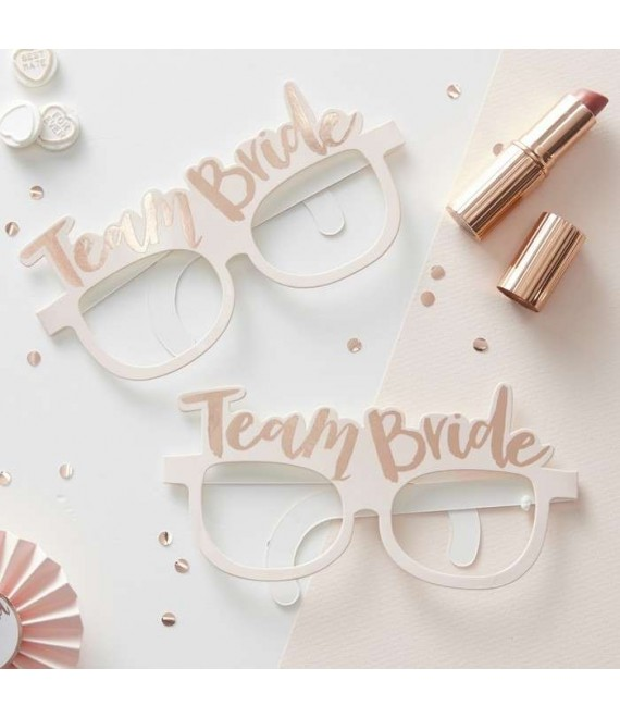 Pink & Rose Gold Team Bride Hen Party Glasses 1 - Team Bride