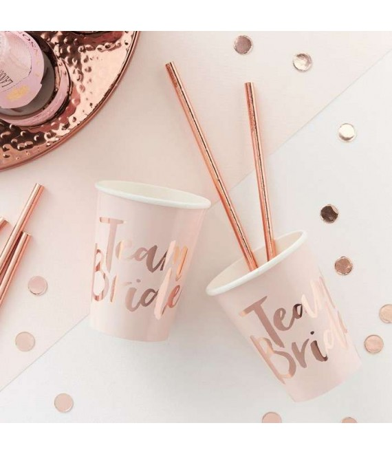 Pink And Rose Gold Foiled Team Bride Cups 1 - Team Bride