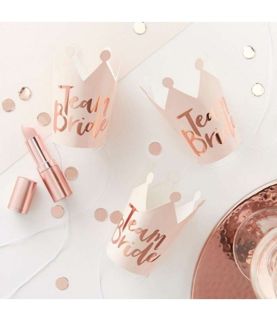 Pink And Rose Gold Foiled Team Bride Party Crowns 1 - Team Bride