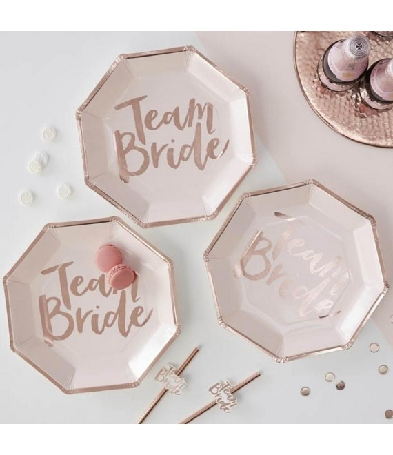 Rose gold foiled Team Bride Paper Plates 1 - Team Bride