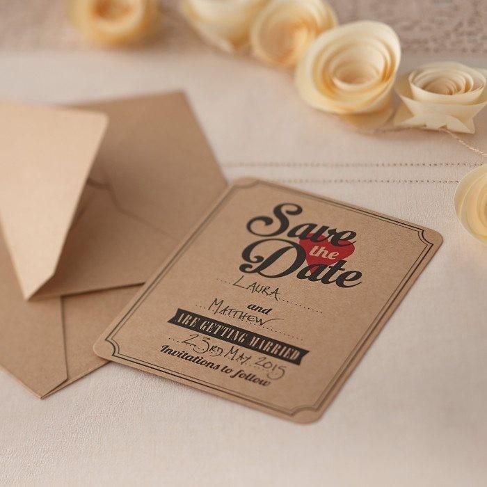 Save The Date Karten Vintage.Save The Date Brown Kraft Cards Vintage Affair