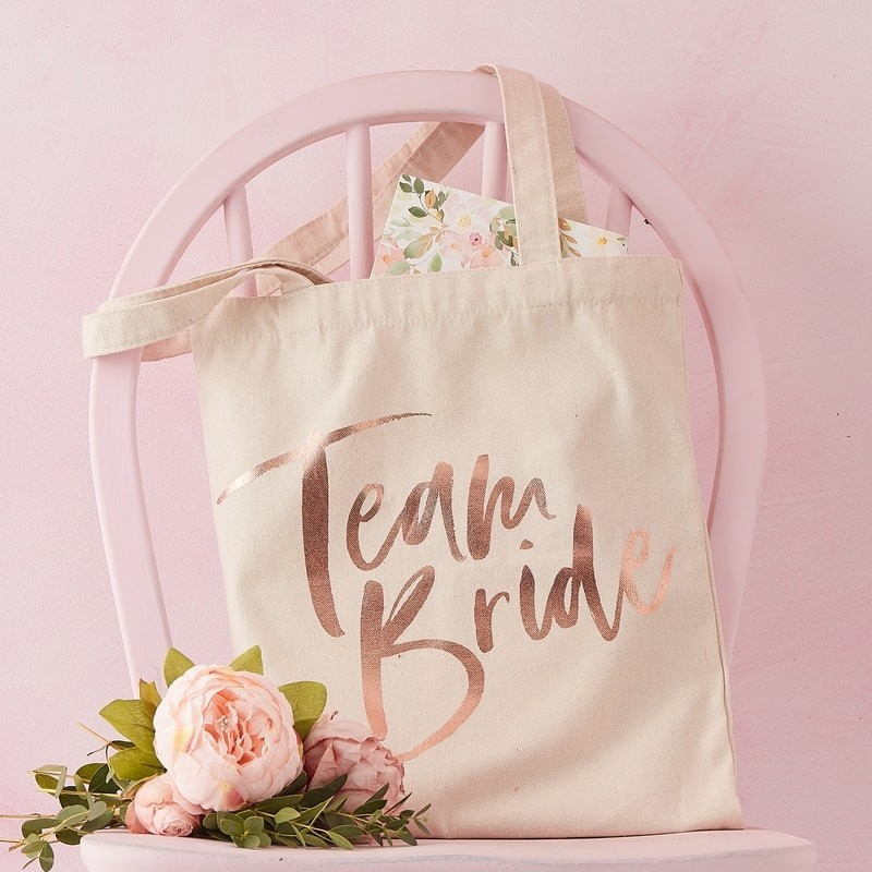 3fef39761 Home; Ginger Ray Team Bride Tote Bag FH-224. Pink & Rose Gold Bride To Be  Sash 1 - Team Bride